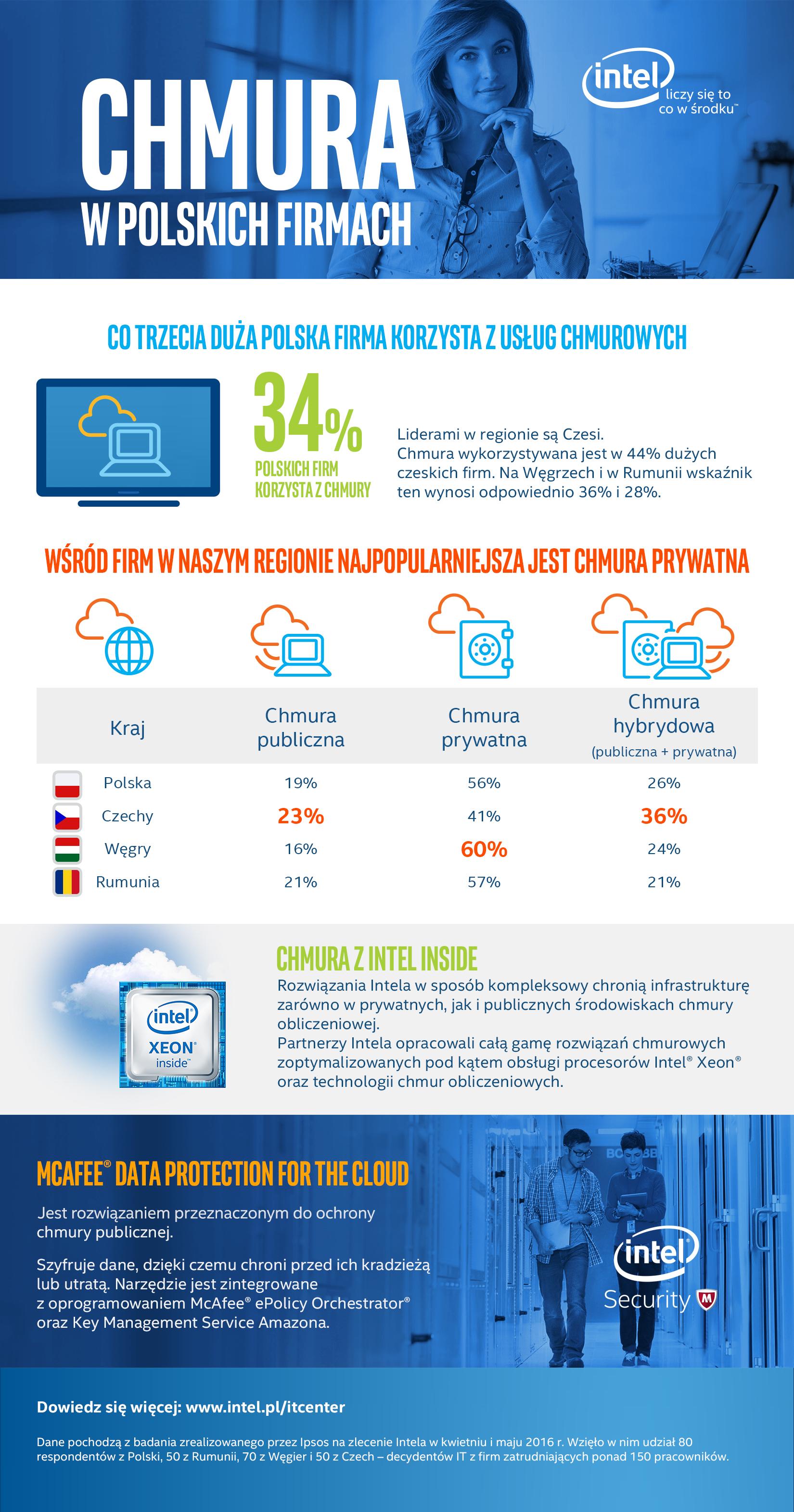 Infografika - co trzecia firma w Polsce korzysta z chmury